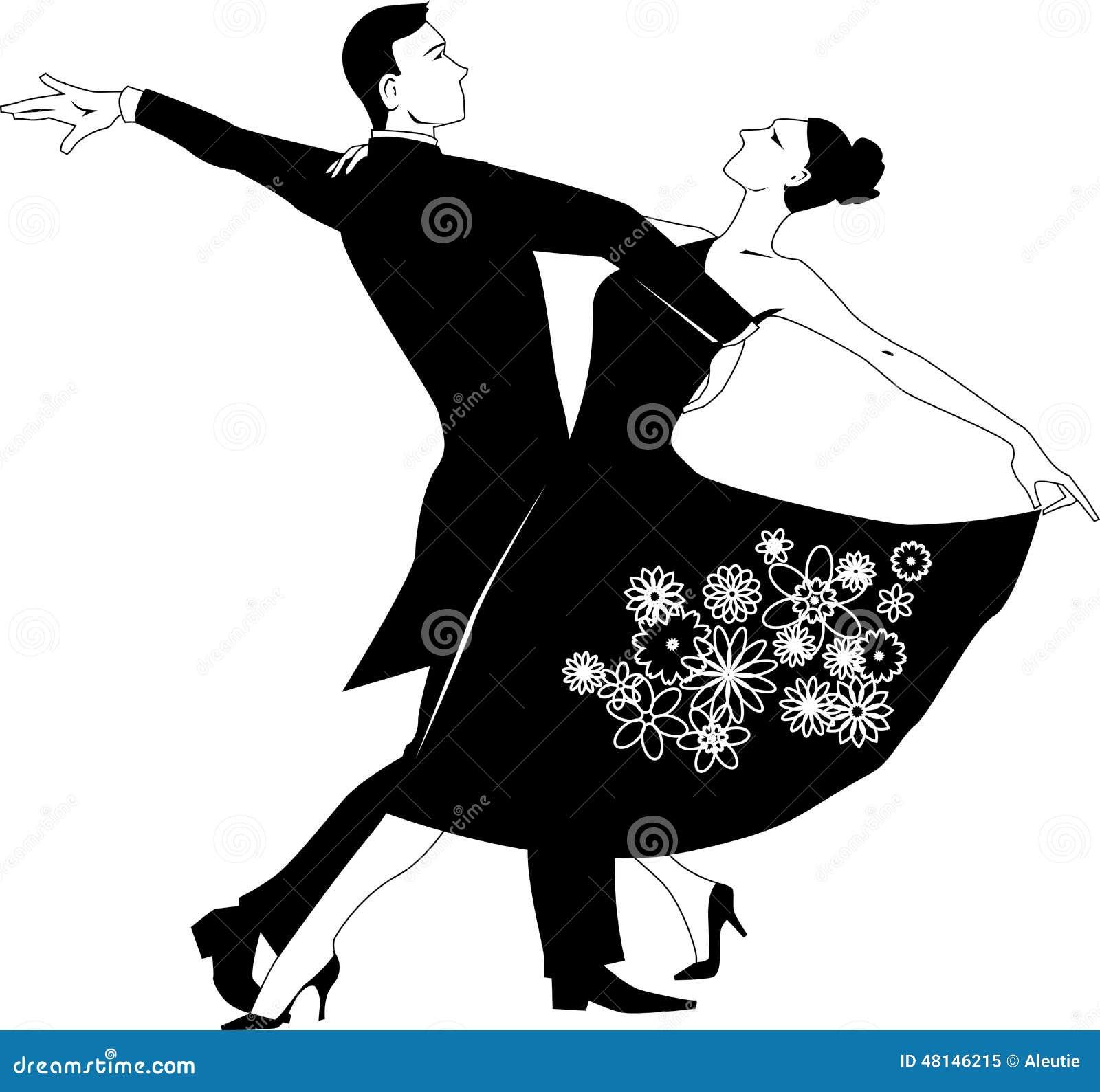 Waltz clip-art stock vector. Illustration of illustration ... Dancing Clipart Black And White