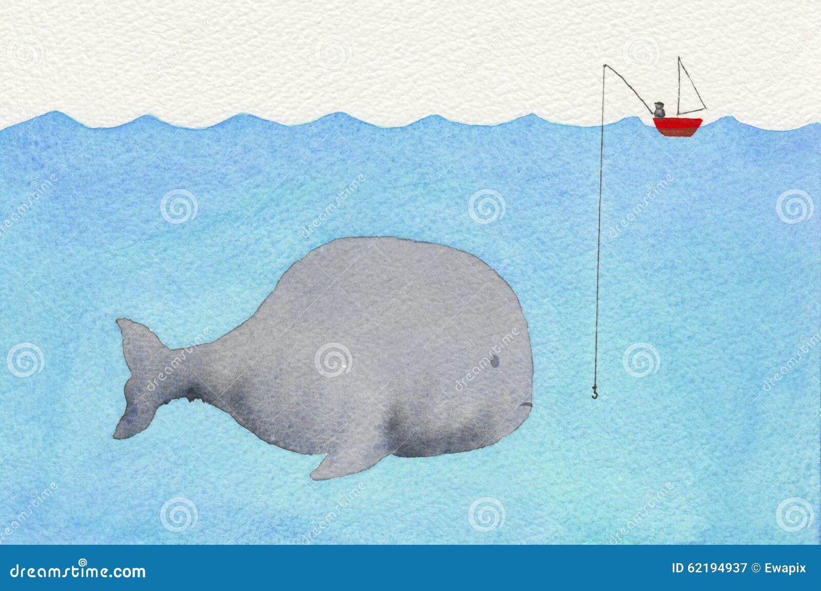 Walvis en een visser