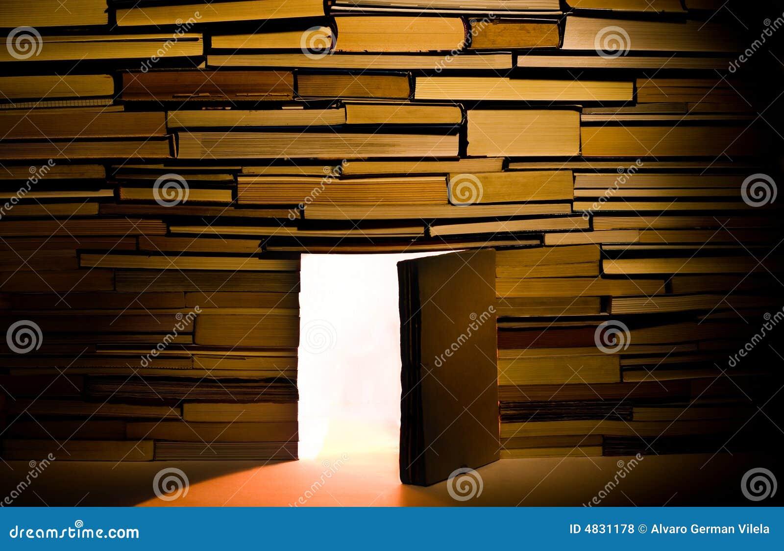 Wand der Bücher mit offener Tür