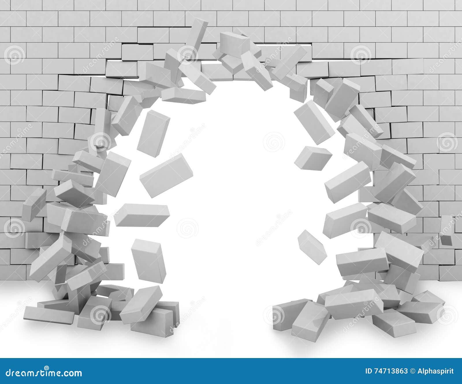 Wand gebrochen durch Wiedergabe 3d
