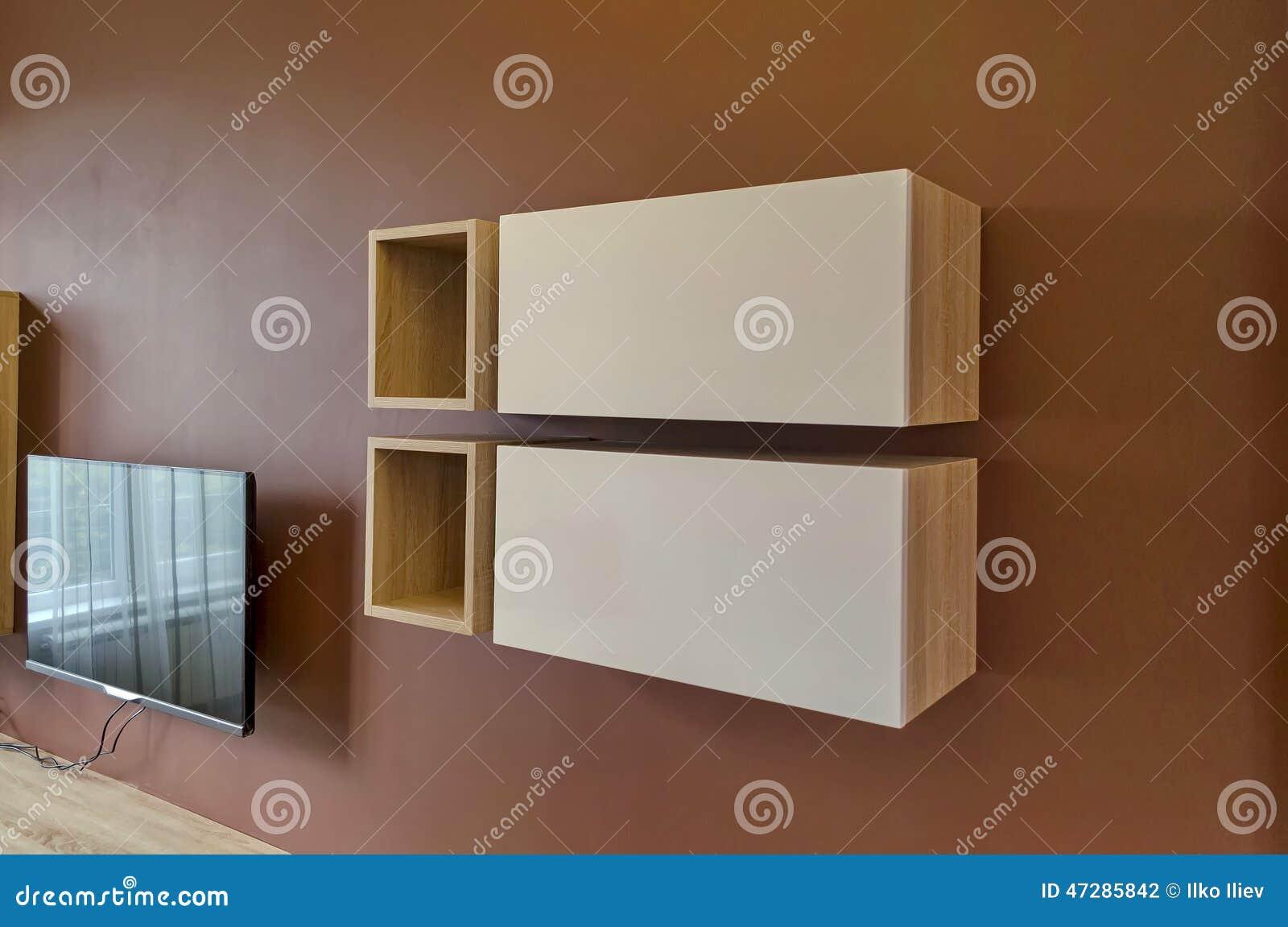 wand im wohnzimmer mit schrank und fernsehen stockfoto bild 47285842. Black Bedroom Furniture Sets. Home Design Ideas