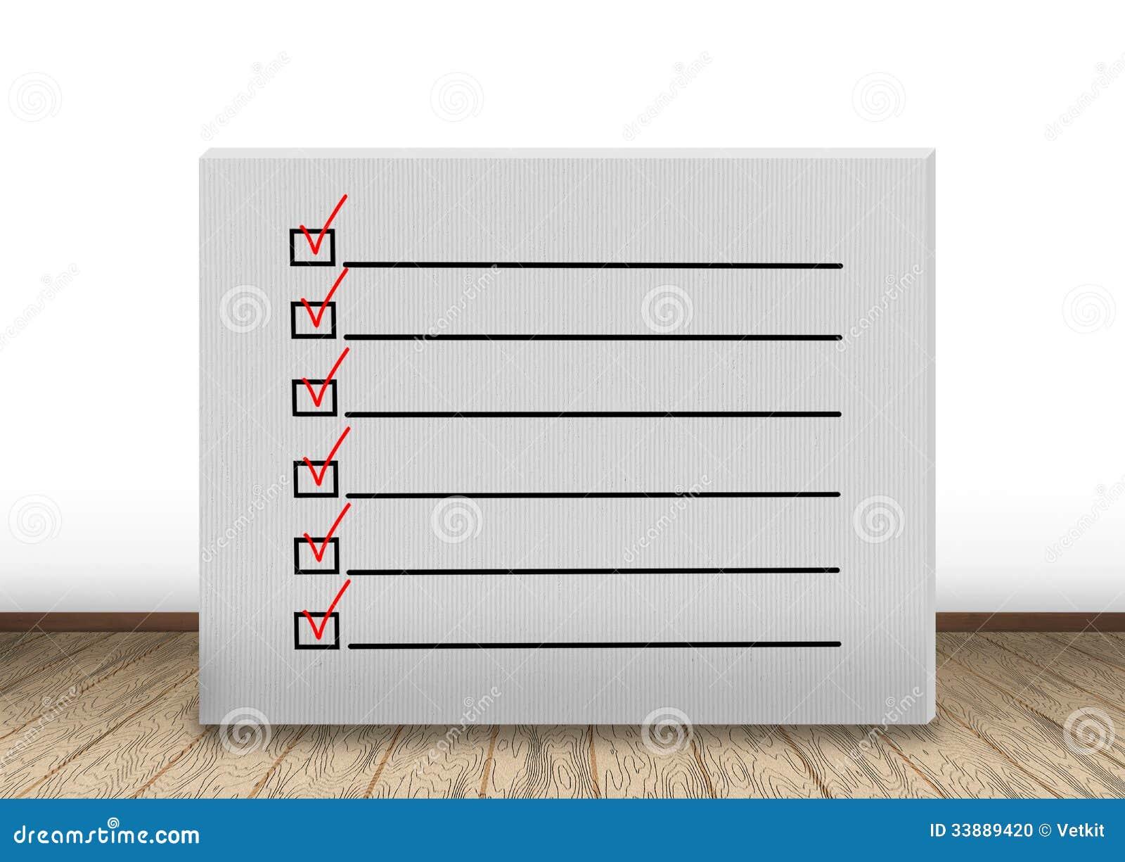 Wand mit Checkliste