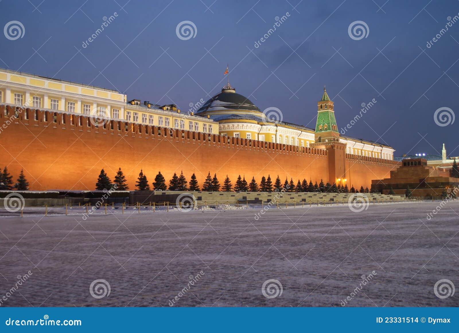 Wand Moskau-Kremlin auf rotem Quadrat nachts Winter