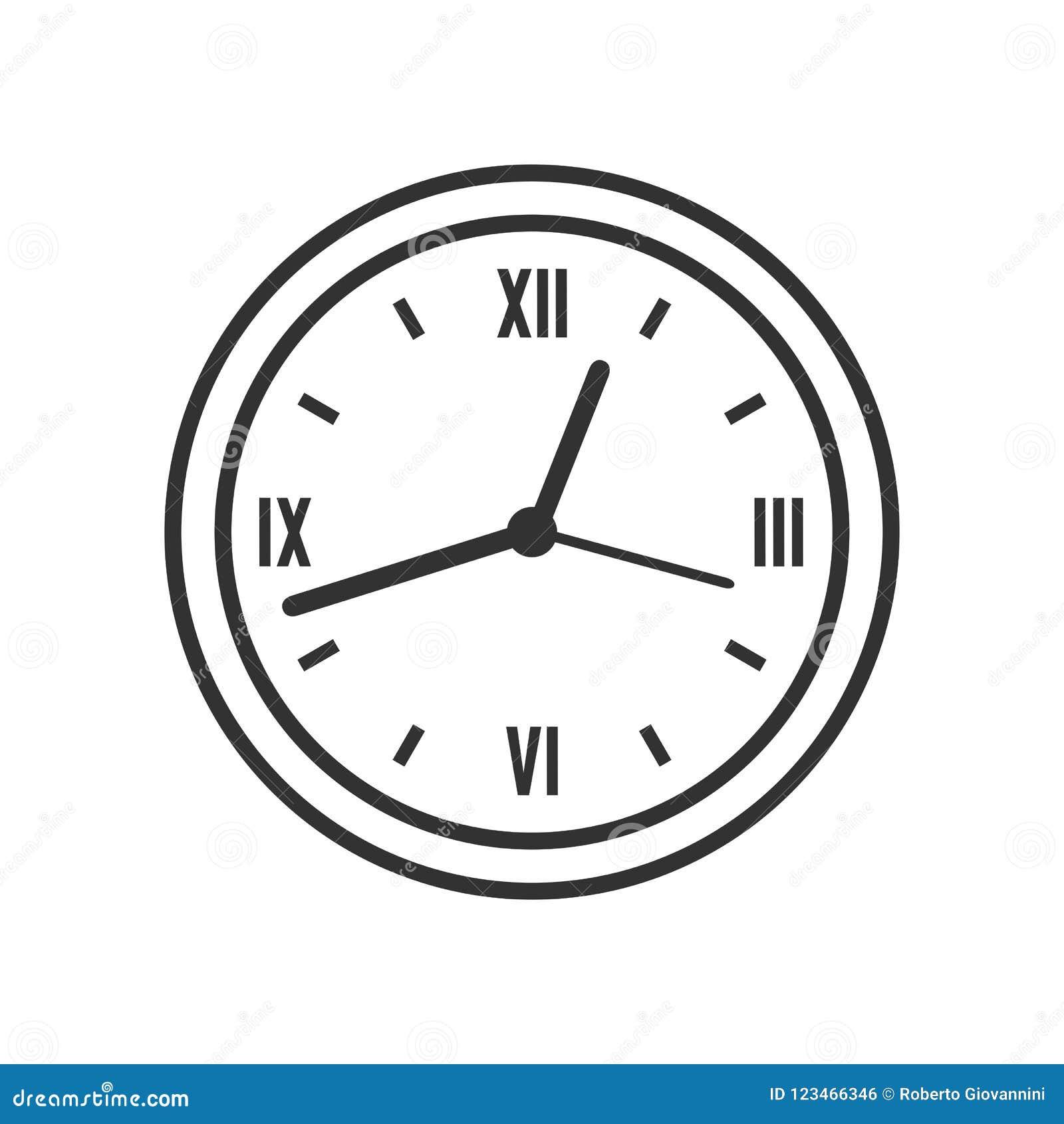 Wand-runder Uhr-Entwurfs-flache Ikone auf Weiß
