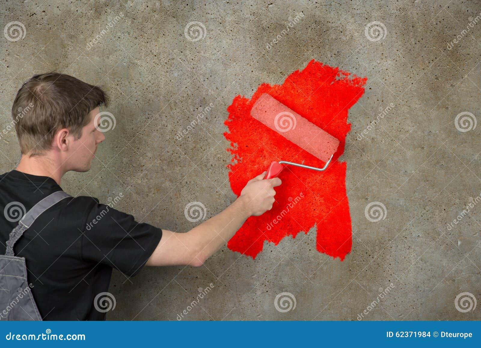 Download Wand Streichen Im Rot Neu Stockfoto. Bild Von Künstlerisch    62371984
