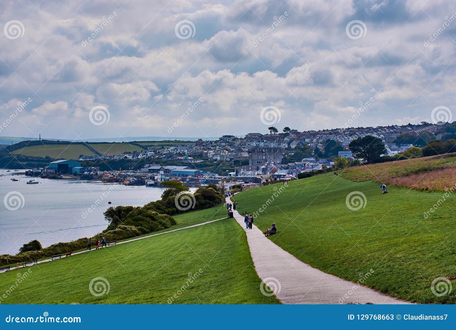 Wandelingssleep en mening over Padstow, Noord-Cornwall