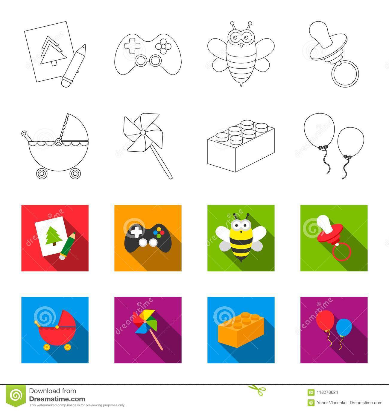 Wandelwagen, windmolen, lego, ballons Speelgoed geplaatst inzamelingspictogrammen in overzicht, het vlakke Web van de de voorraad