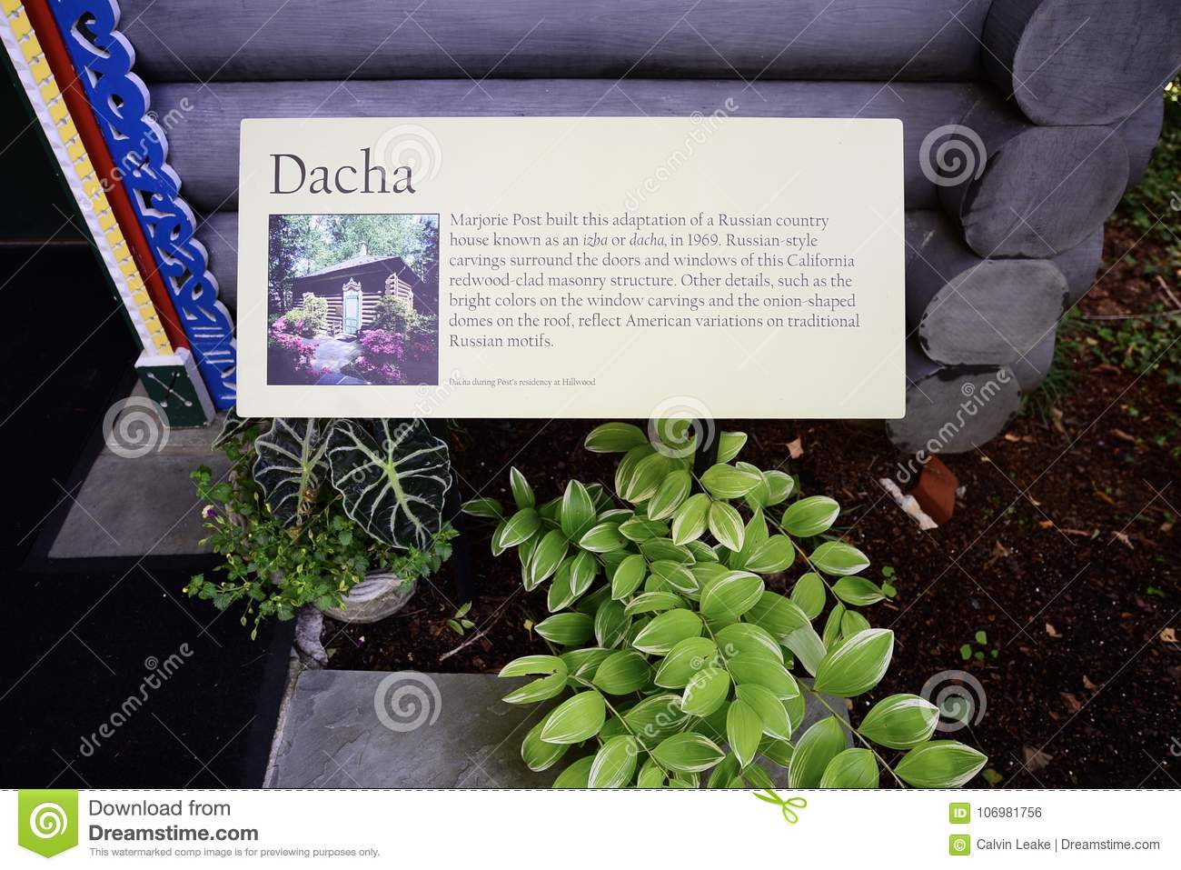 Dacha House Sign At Hillwood Estates Editorial Photo - Image