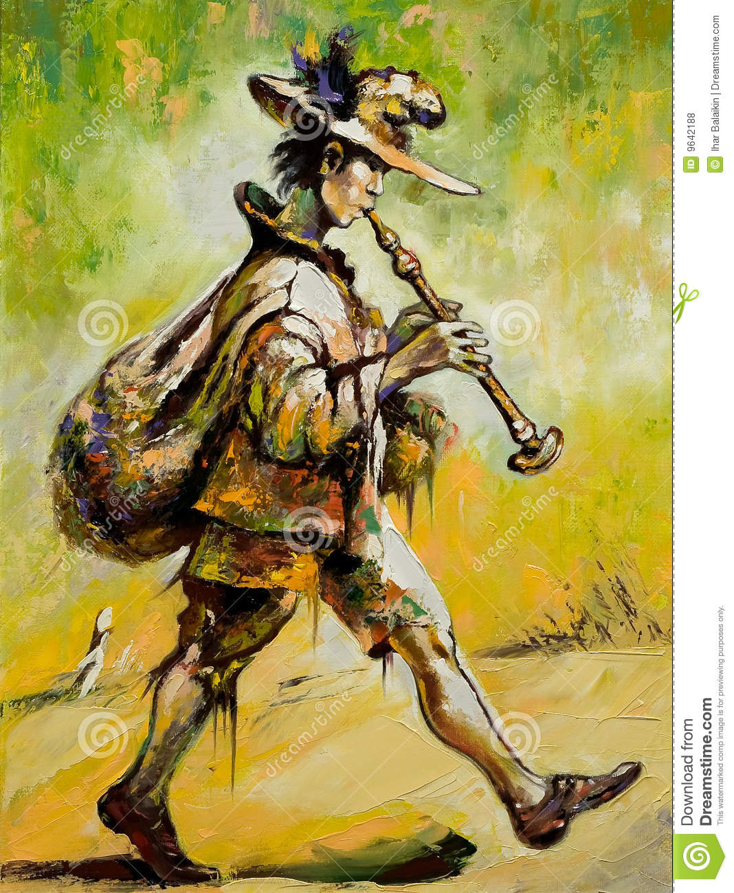 Wandering Troubadour Plays A Pipe Royalty Free Stock ...