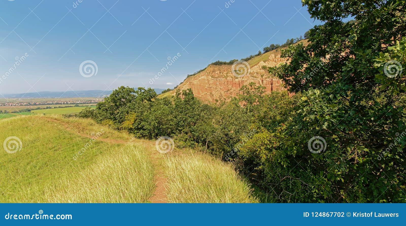 Wanderweg entlang dem Rock geologischer Bildung Rapa Rosie, der Grand Canyon von Rumänien, unter einem klaren blauen Himmel