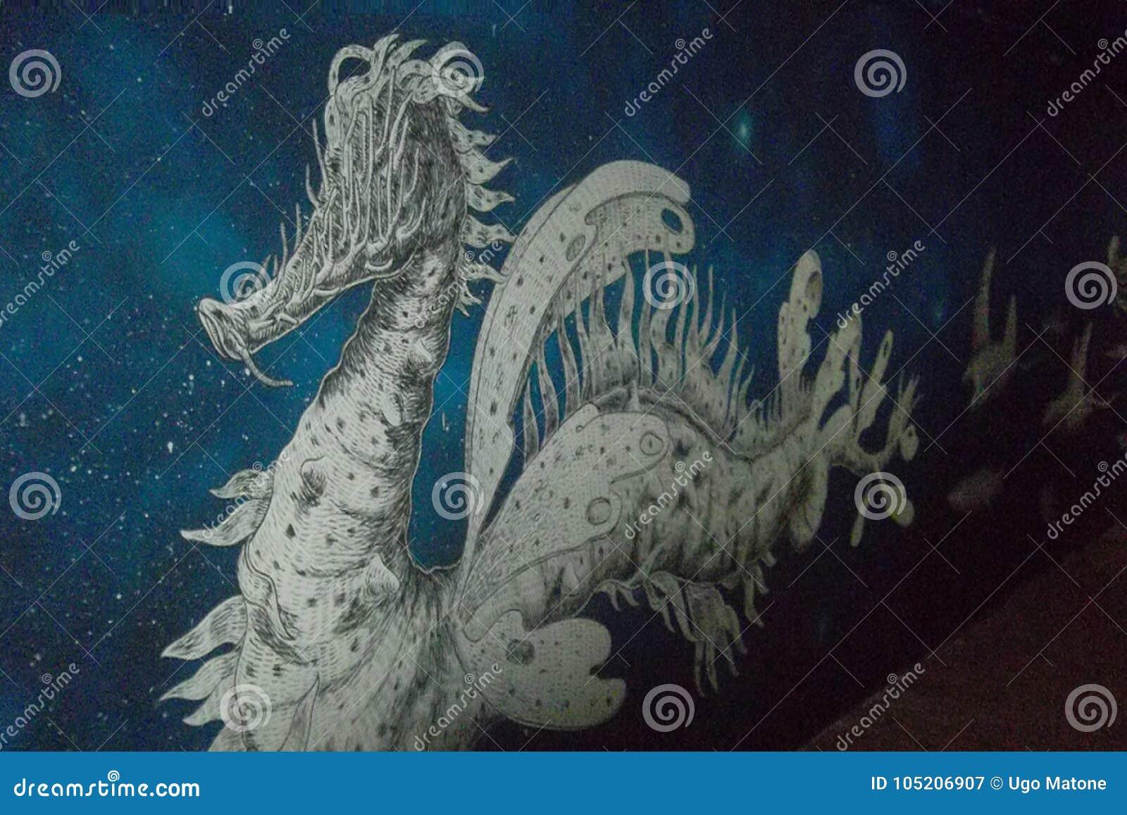 Wandgemälde, das einen Drachen darstellt