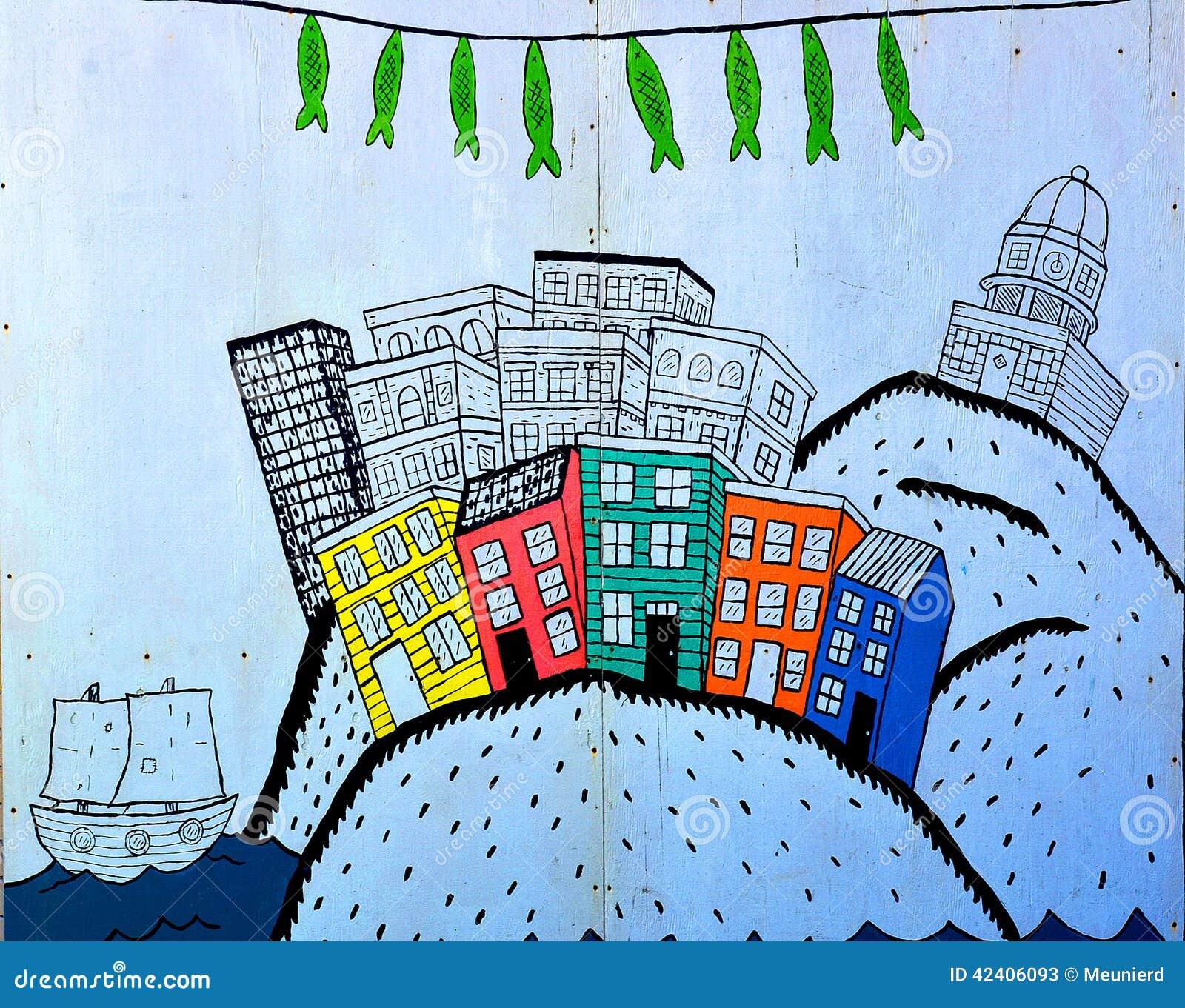 Wandgemälde im Stadtzentrum gelegenes Halifax