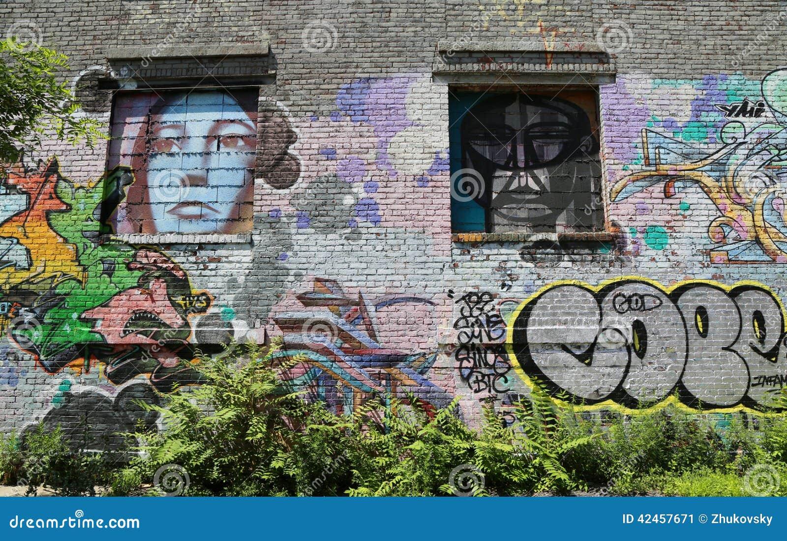 Wandgemälde in Williamsburg-Abschnitt in Brooklyn