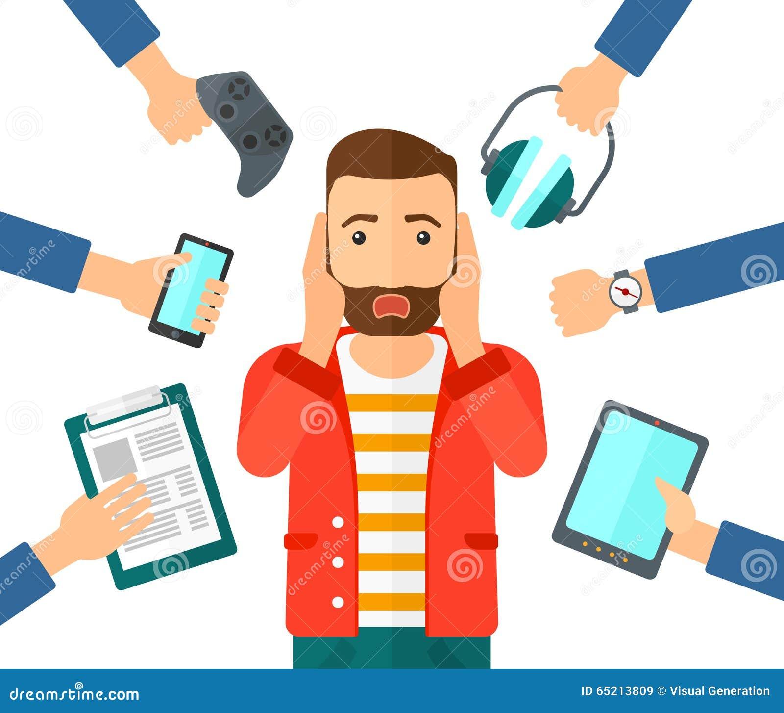 Wanhopige mens met gadgets