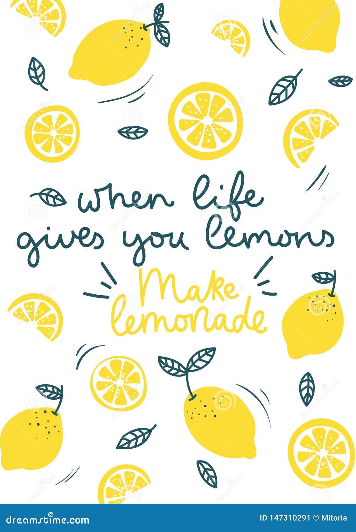 Wanneer het leven u geeft maken de citroenen tot limonade die inspirational kaart met krabbelscitroenen, bladeren op witte achter