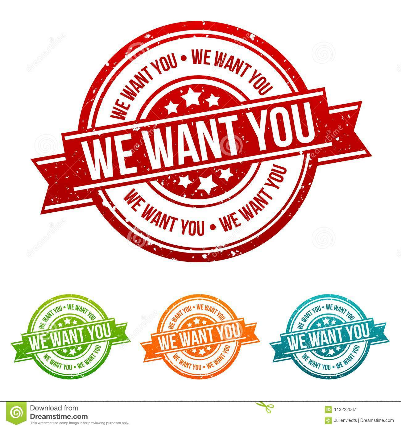 We want you Stamp - Badges in different colours.