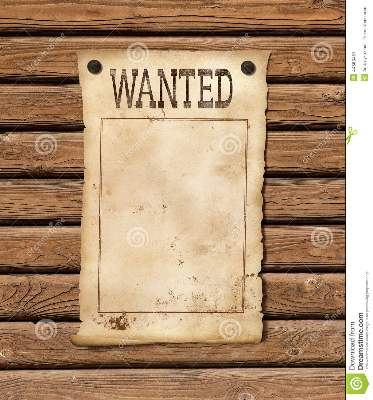 Wanted Blank Paper Sheet Stock Photo - Image: 44563457