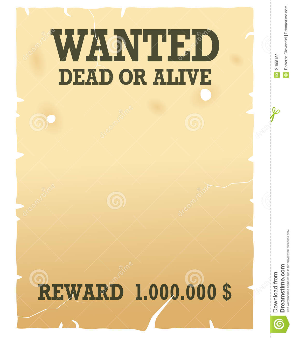 Wanted Dead Or Alive Poster Stock Vector Illustration Of Criminal