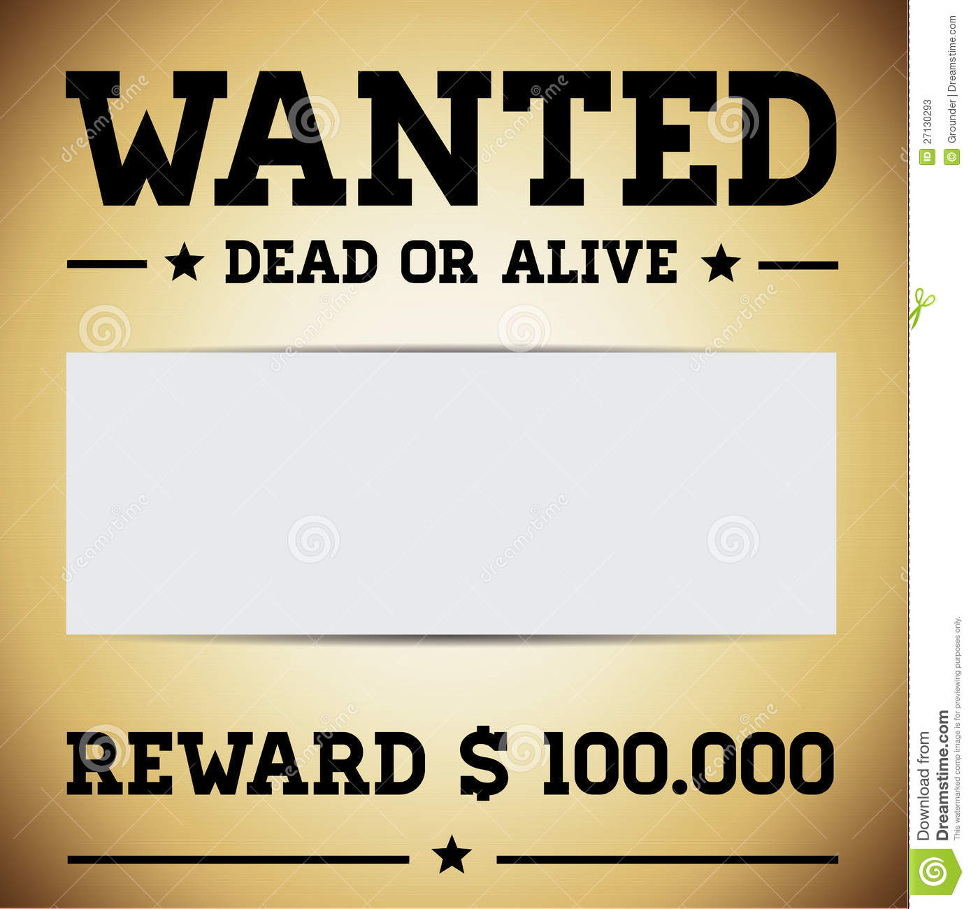 Wanted Dead Or Alive Template Vector Stock Photos - Image: 27130293