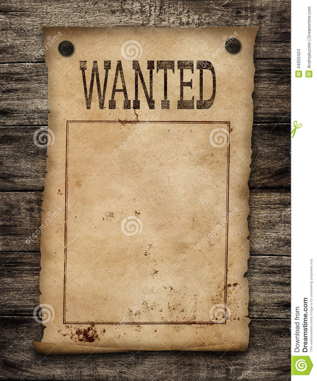 Wanted Dead Or Live Paper Poster Stock Images Image