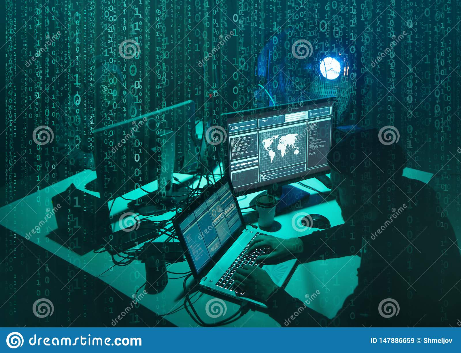 Wanted hackers coding virus ransomware using laptops and computers. Cyber attack, system breaking and malware concept.