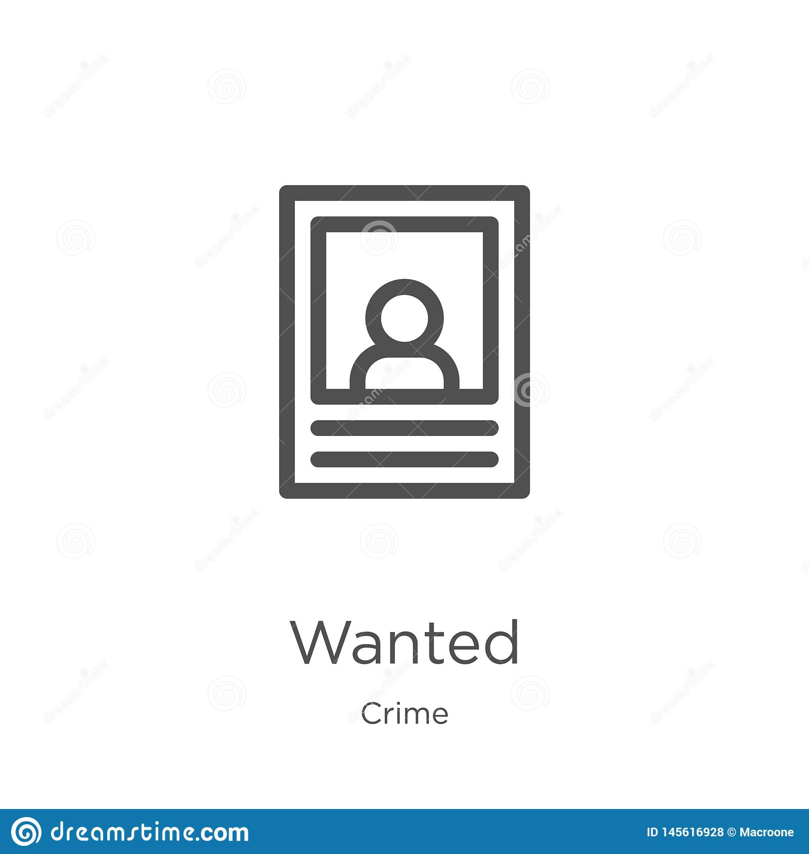 wanted icon vector from crime collection. Thin line wanted outline icon vector illustration. Outline, thin line wanted icon for
