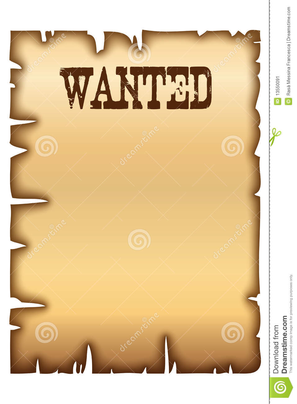 Wanted Poster Image Image 13550091 – Free Printable Wanted Poster