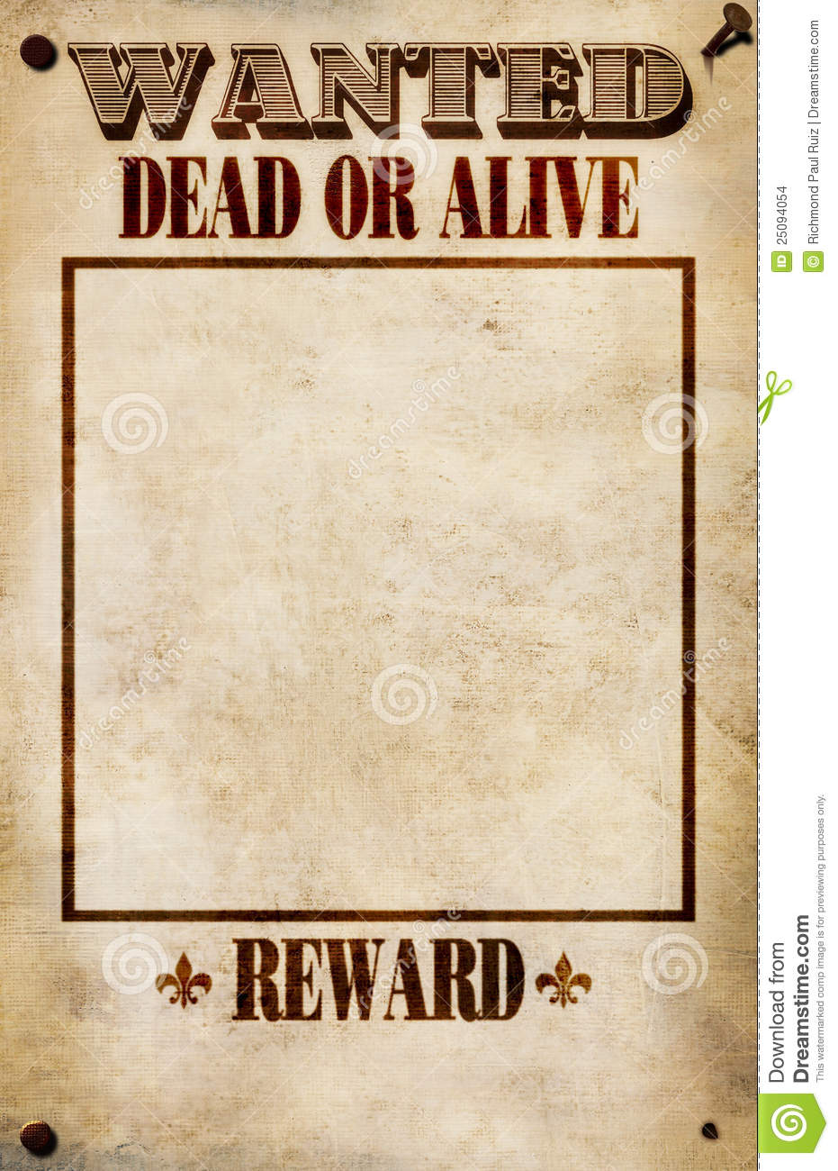 wanted poster blank reward stock images image 25094054