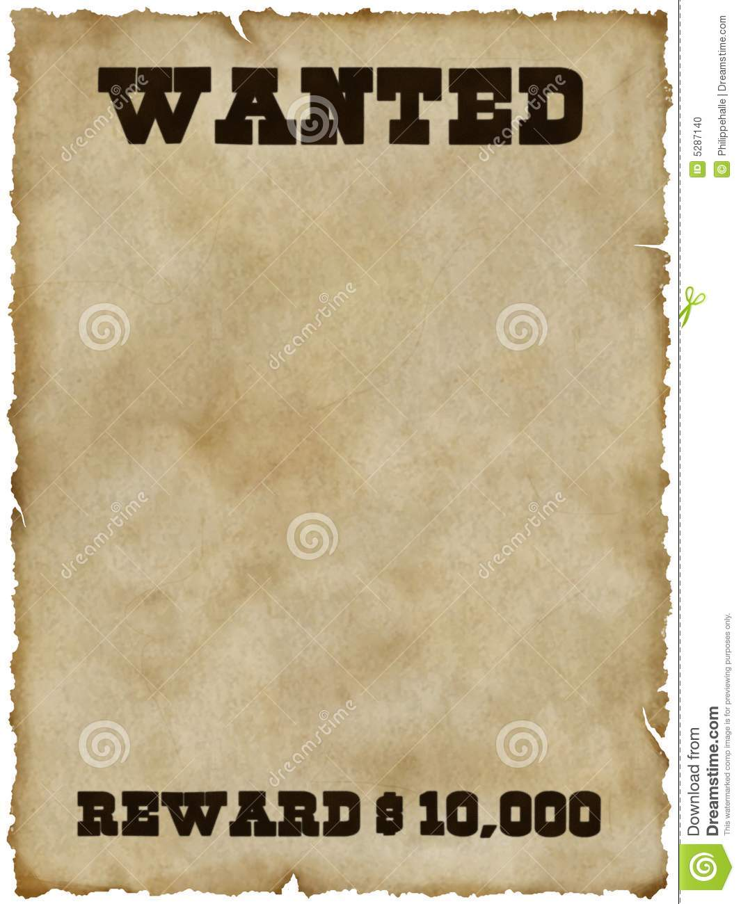 Wanted Poster With Clipping Path Stock Photo Image