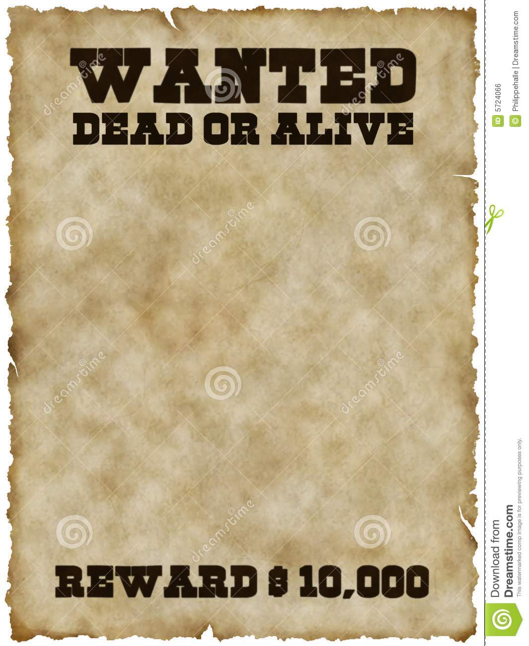 Wanted Poster With Clipping Path Stock Illustration
