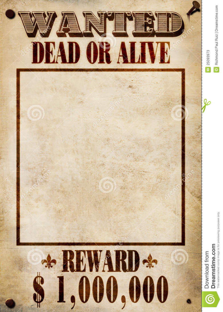 Wanted Poster Dollar Reward Stock Photos Image 25093973