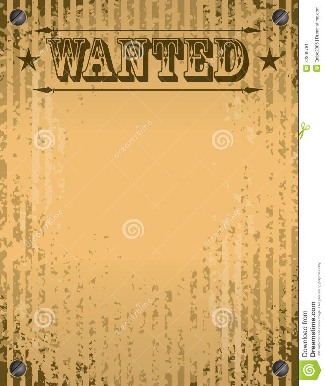 Wanted Poster stock vector Illustration of ripped capture 32349781
