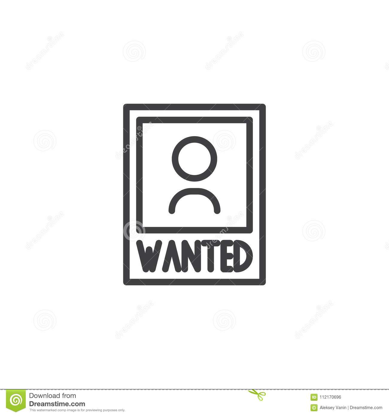 Wanted poster outline icon stock vector. Illustration of poster ...