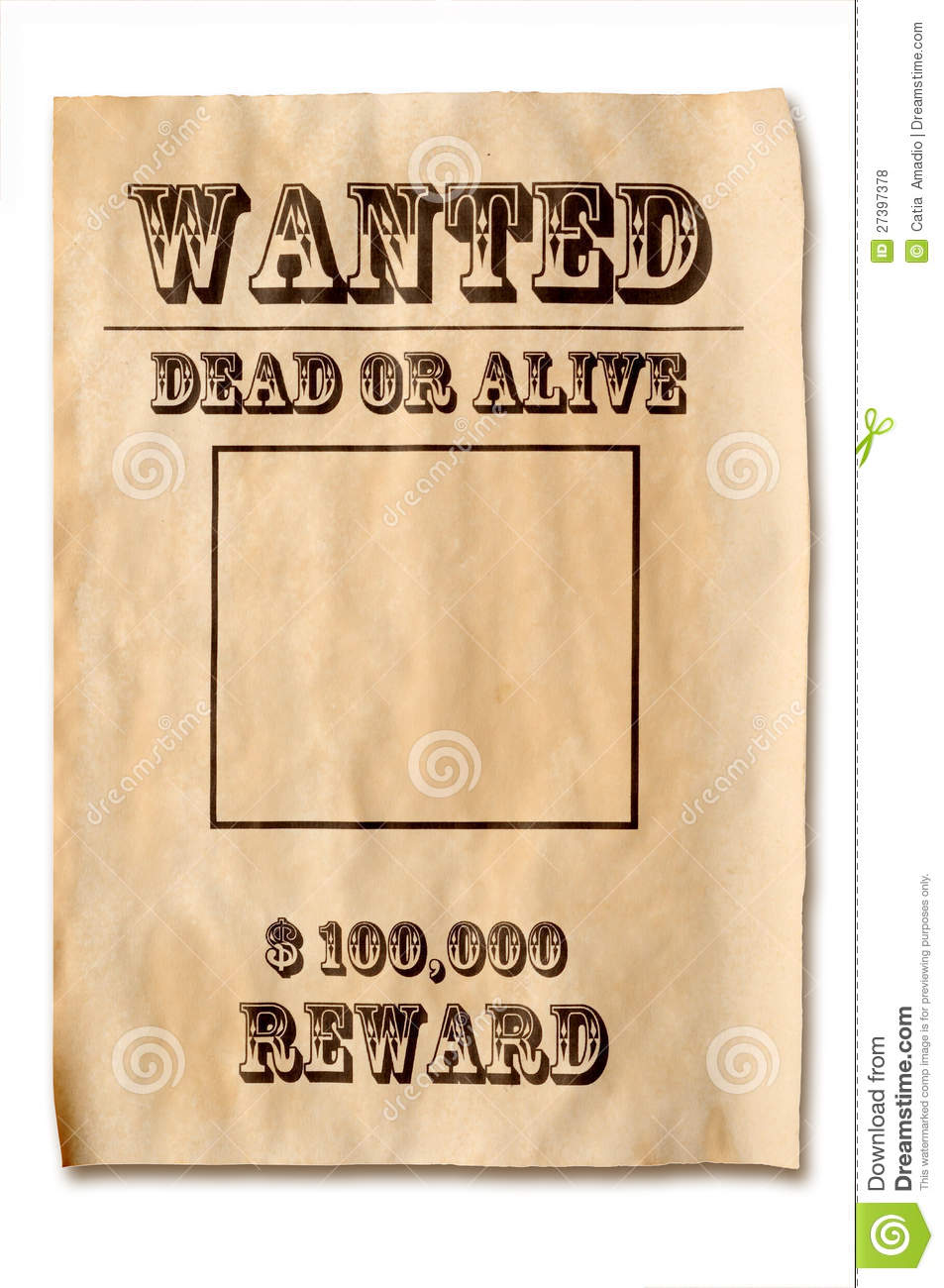 Wanted Poster With Reward Royalty Free Stock Photos - Image: 27397378