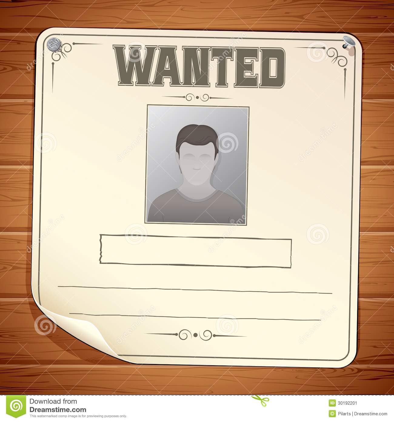 Wanted Poster On Wooden Wall Vector Template Stock Image