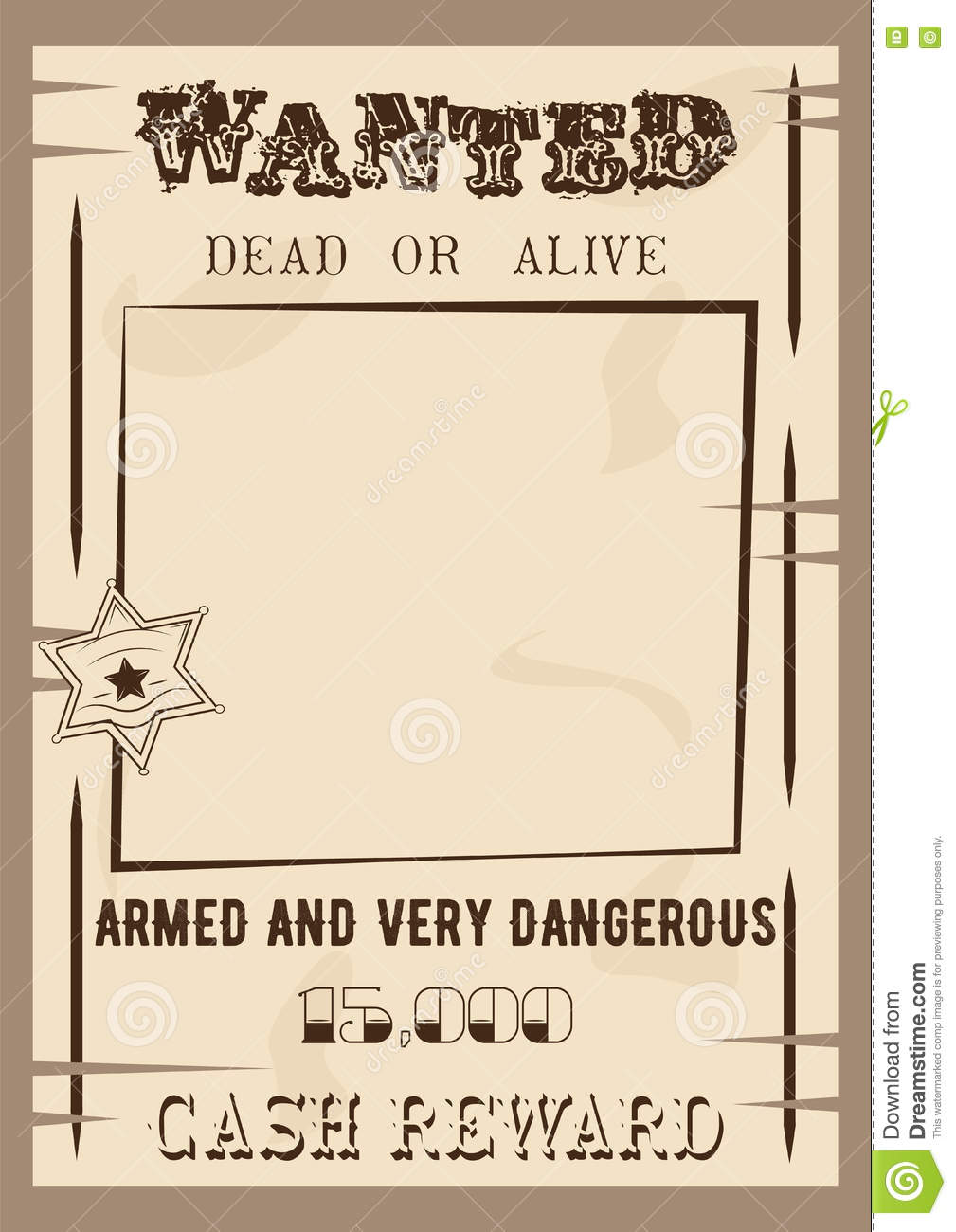 Vector wanted poster cartoon vector for Wanted dead or alive poster template free