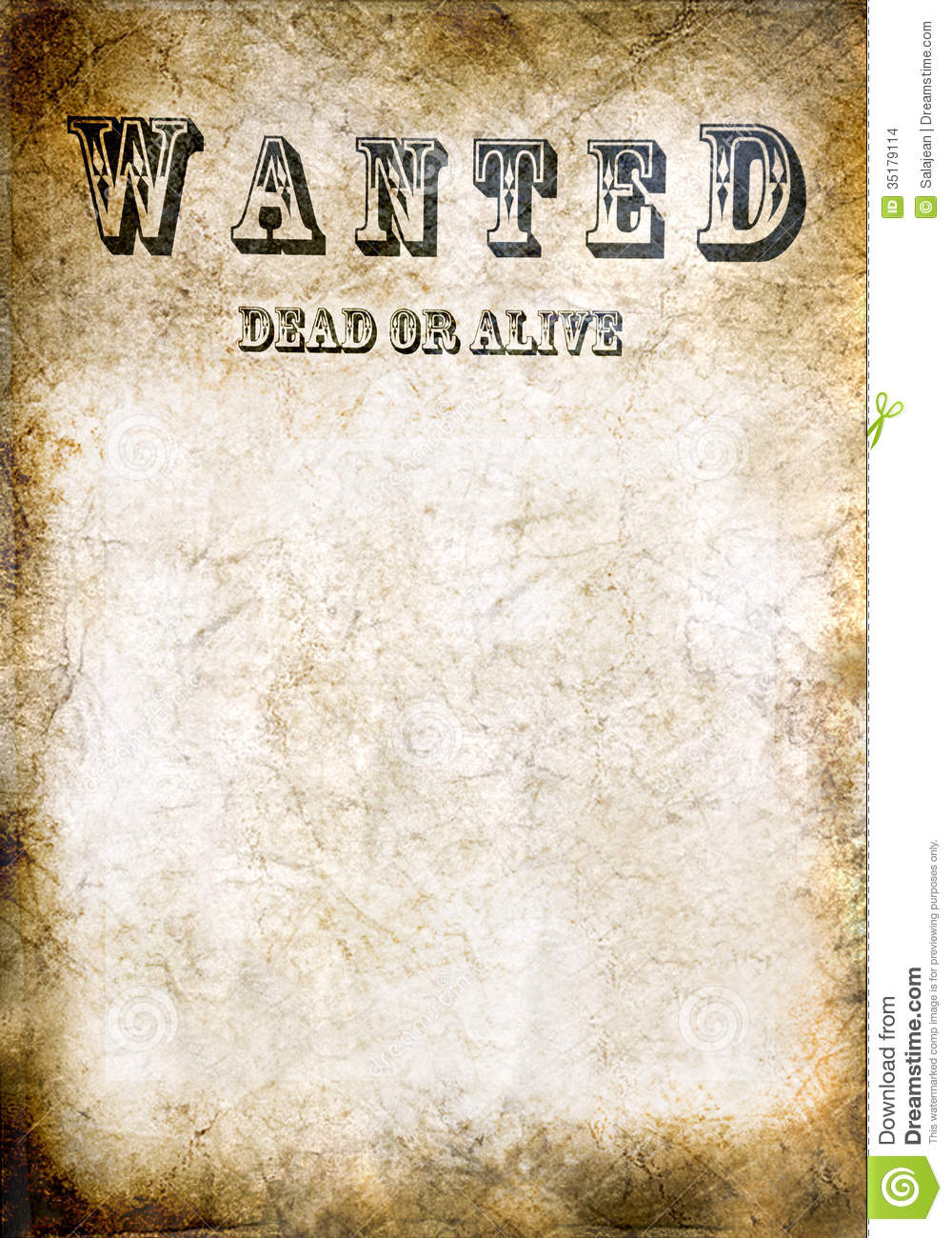 Wanted vintage poster dead or alive stock photo image for Wanted dead or alive poster template free