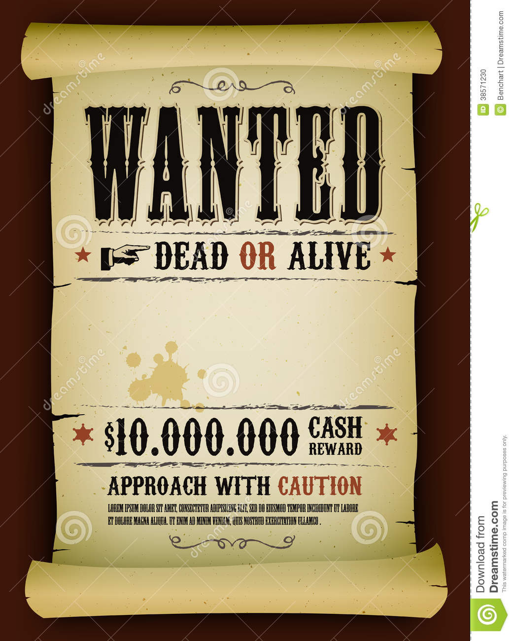 Wanted vintage poster on parchment stock vector image for Wanted dead or alive poster template free