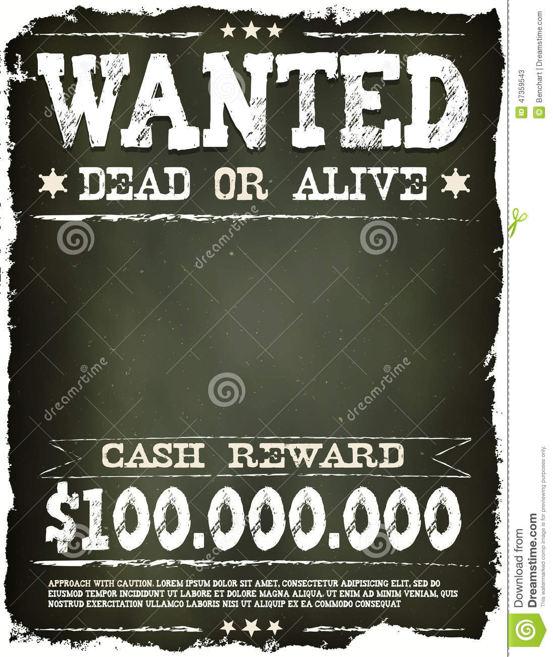 Wanted vintage western poster on chalkboard stock vector for Wanted dead or alive poster template free