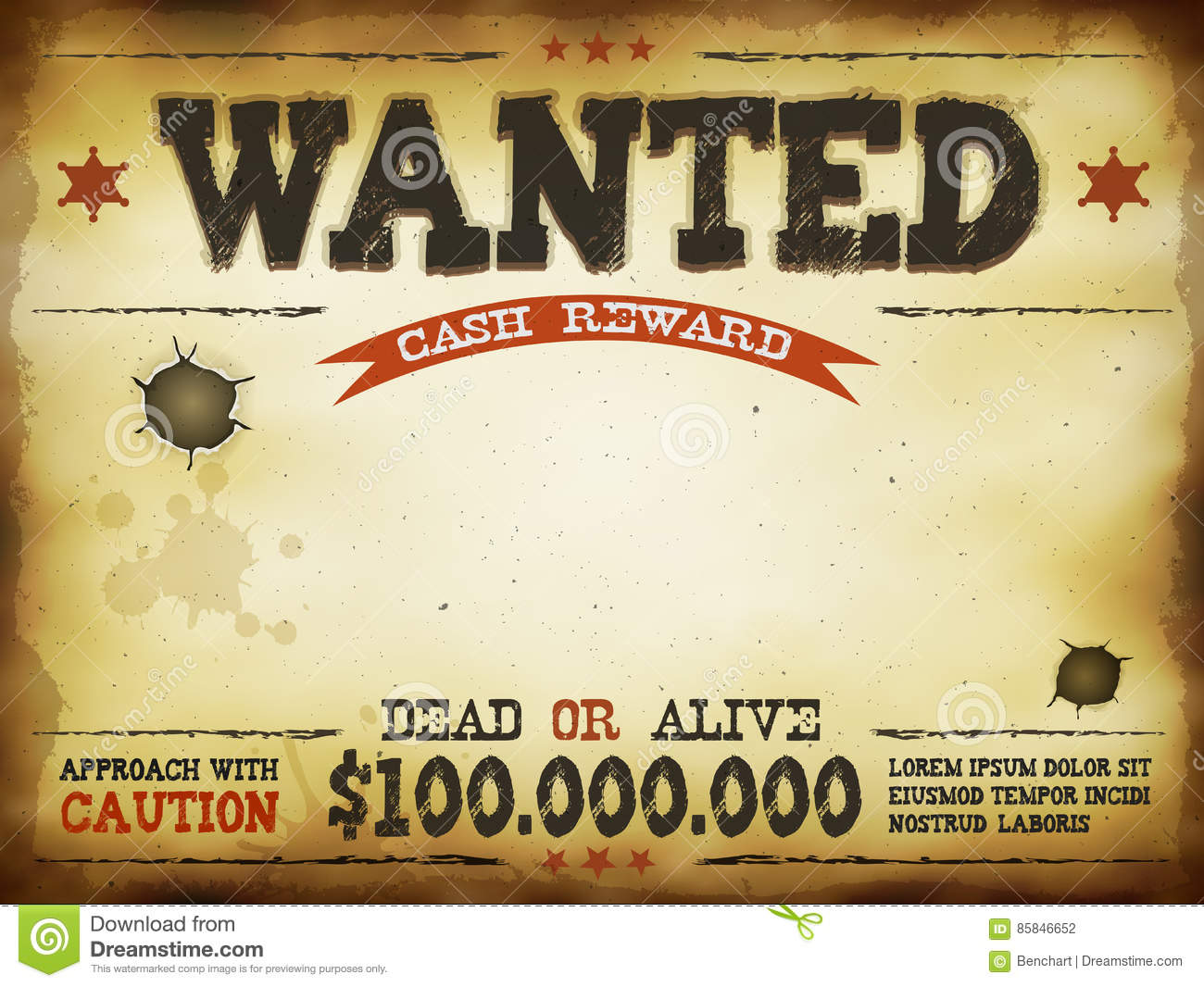 Wanted vintage western poster stock vector image 85846652 for Wanted dead or alive poster template free