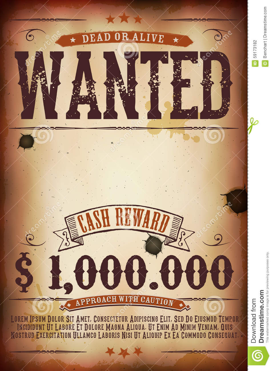 Wanted vintage western poster stock vector illustration for Free wanted poster template