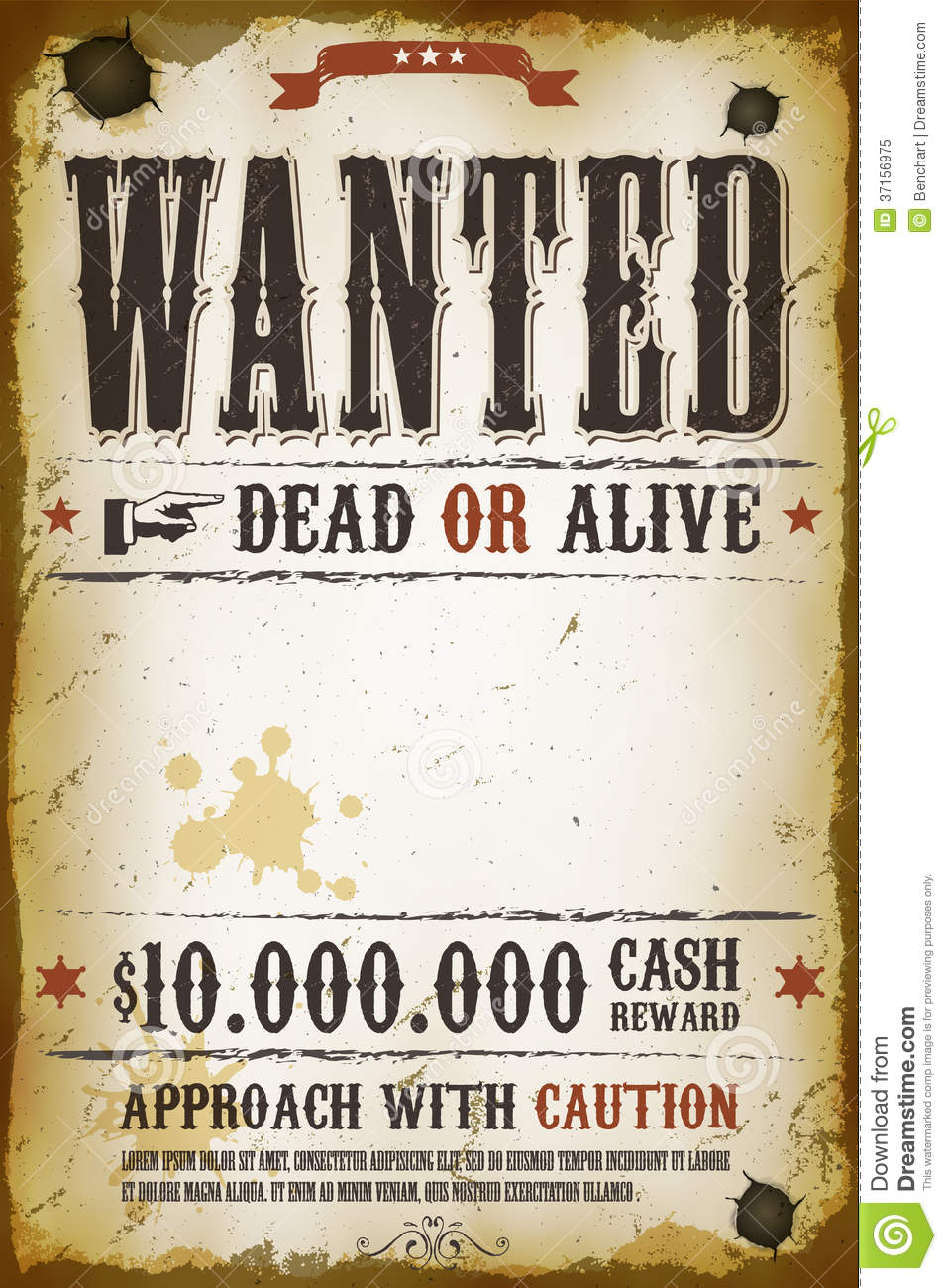 Wanted vintage western poster stock vector illustration for Wanted dead or alive poster template free