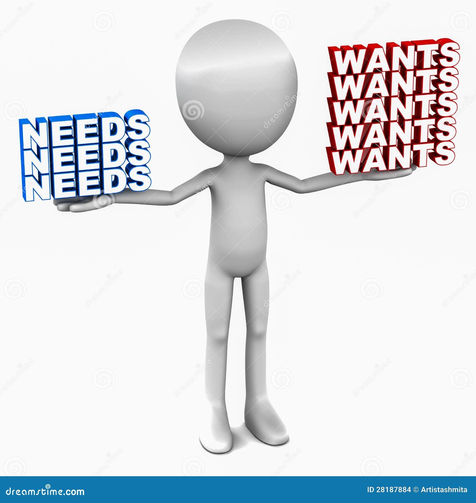 Wants Versus Needs Stock Images - Image: 28187884