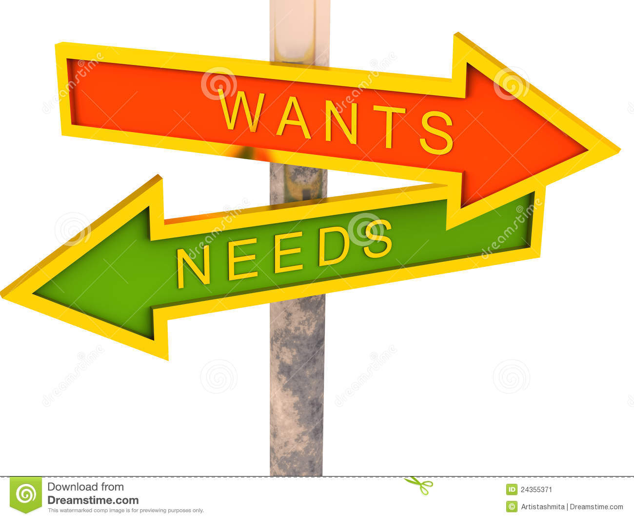 Wants Vs Needs Stock Image - Image: 24355371