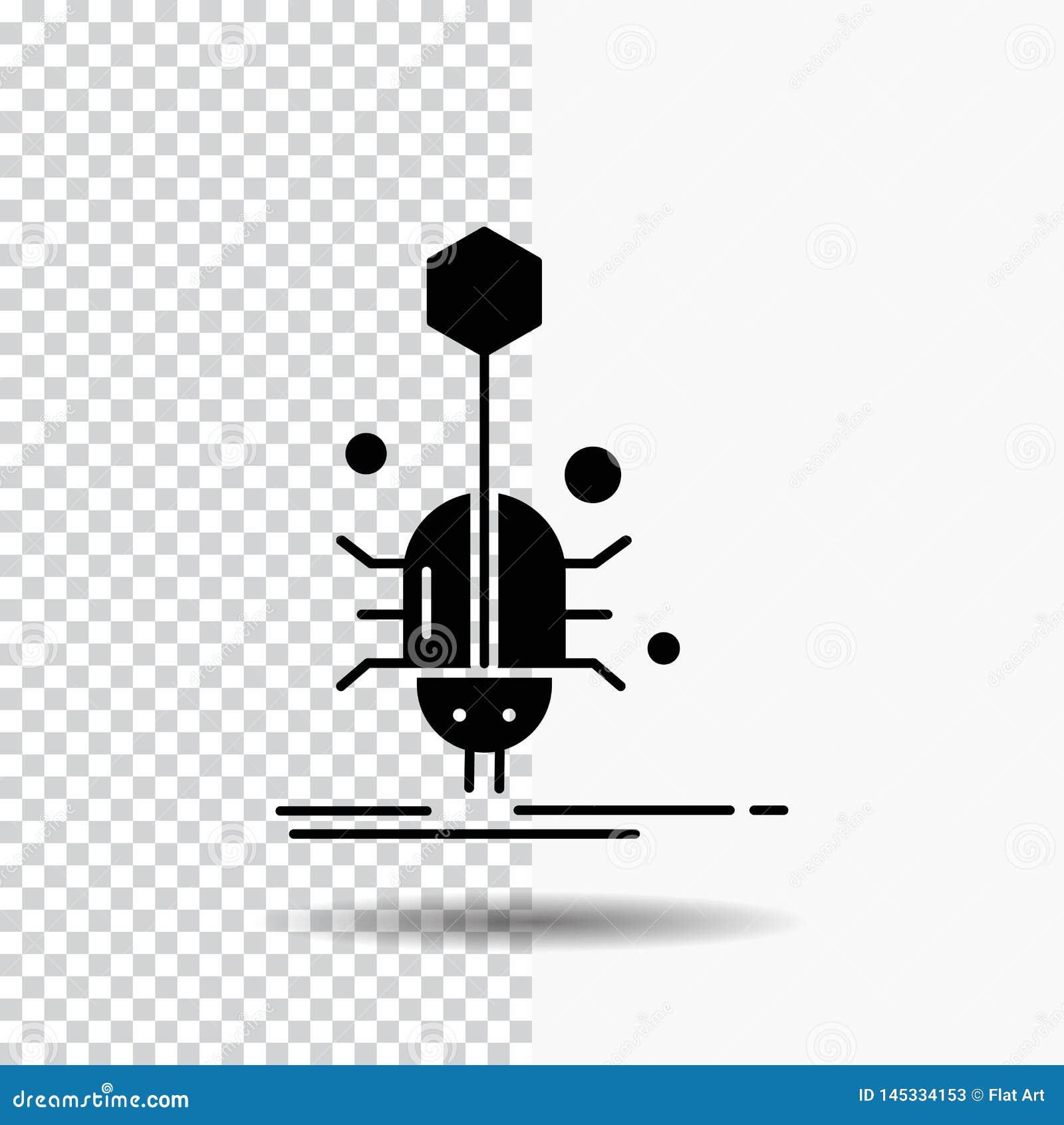 Wanze, Insekt, Spinne, Virus, Netz Glyph-Ikone auf transparentem Hintergrund Schwarze Ikone