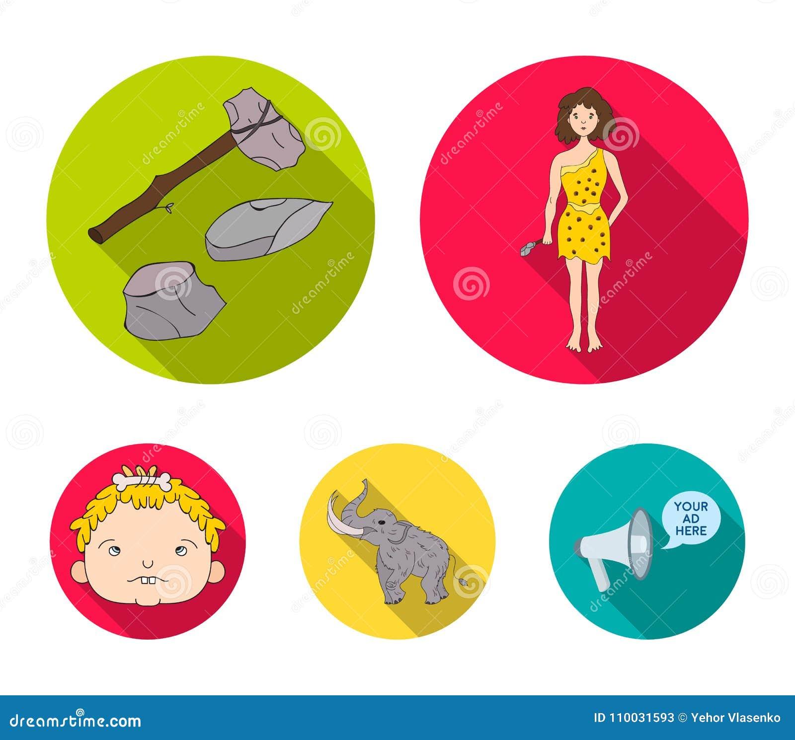Wapen, hamer, olifant, mammoet Vastgestelde de inzamelingspictogrammen van de steenleeftijd in het vlakke Web van de de voorraadi
