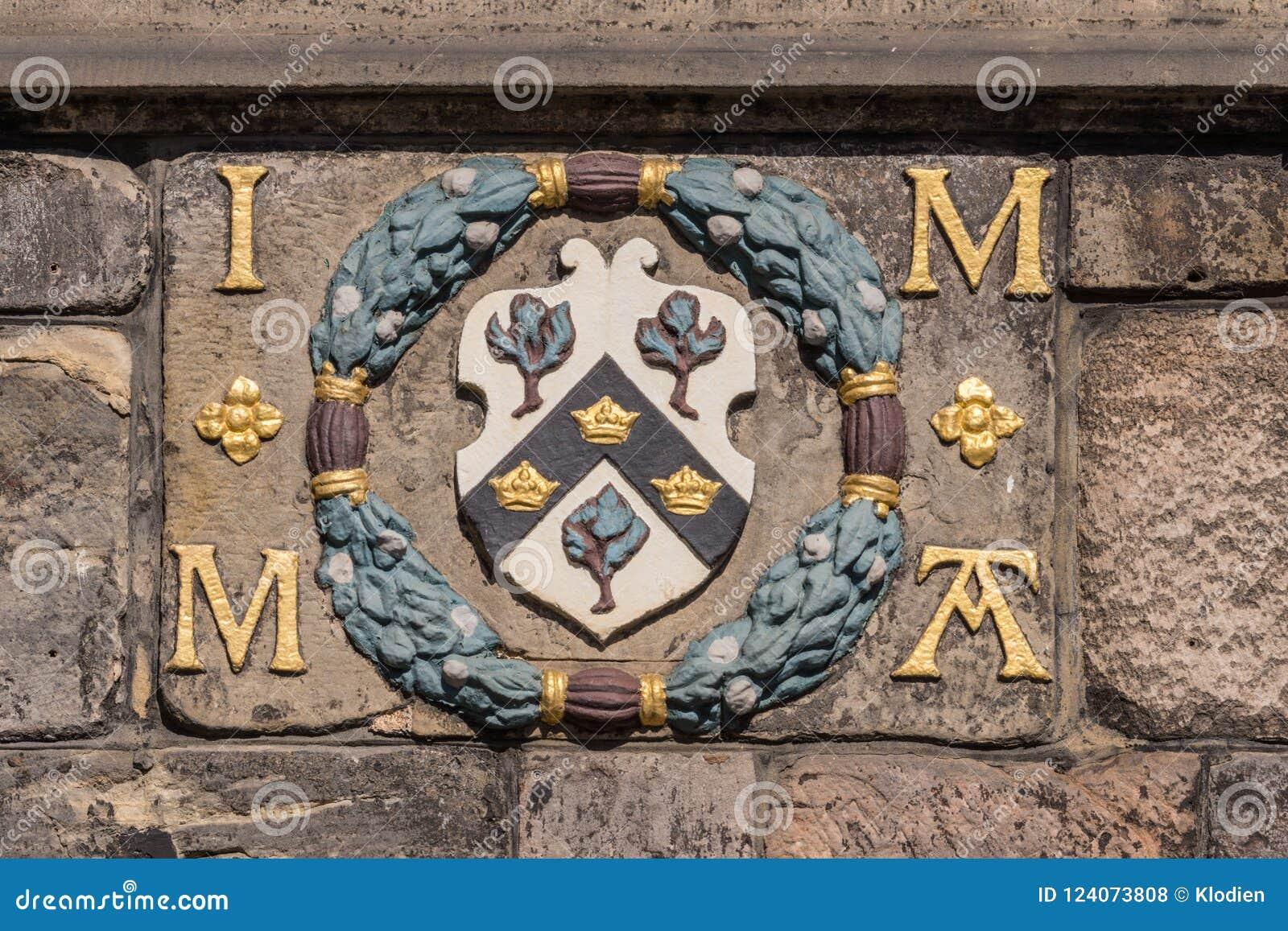 Wapenschild op John Knox House, Edinburgh, Schotland, het UK
