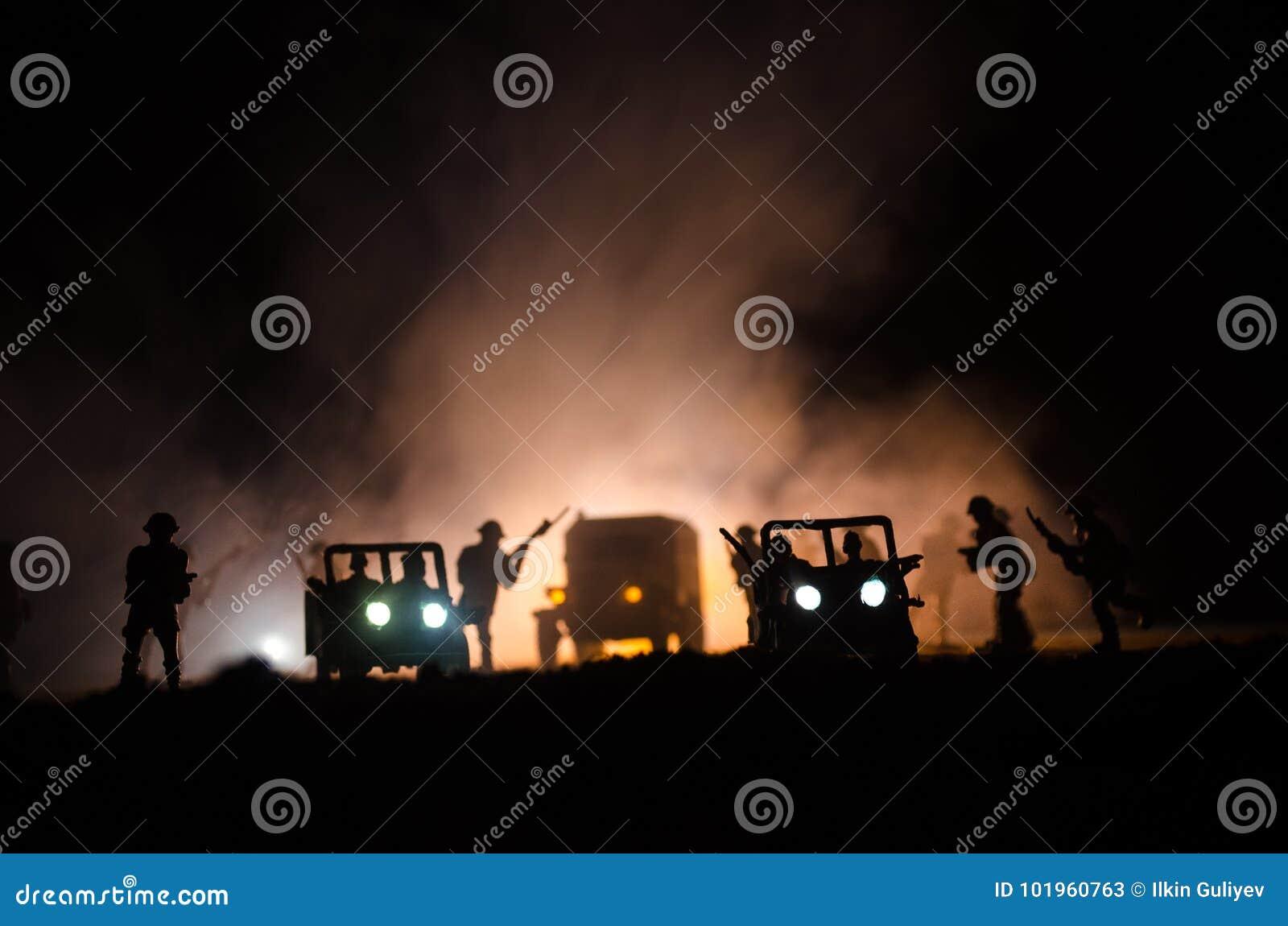 War Concept  Military Silhouettes Fighting Scene On War Fog Sky