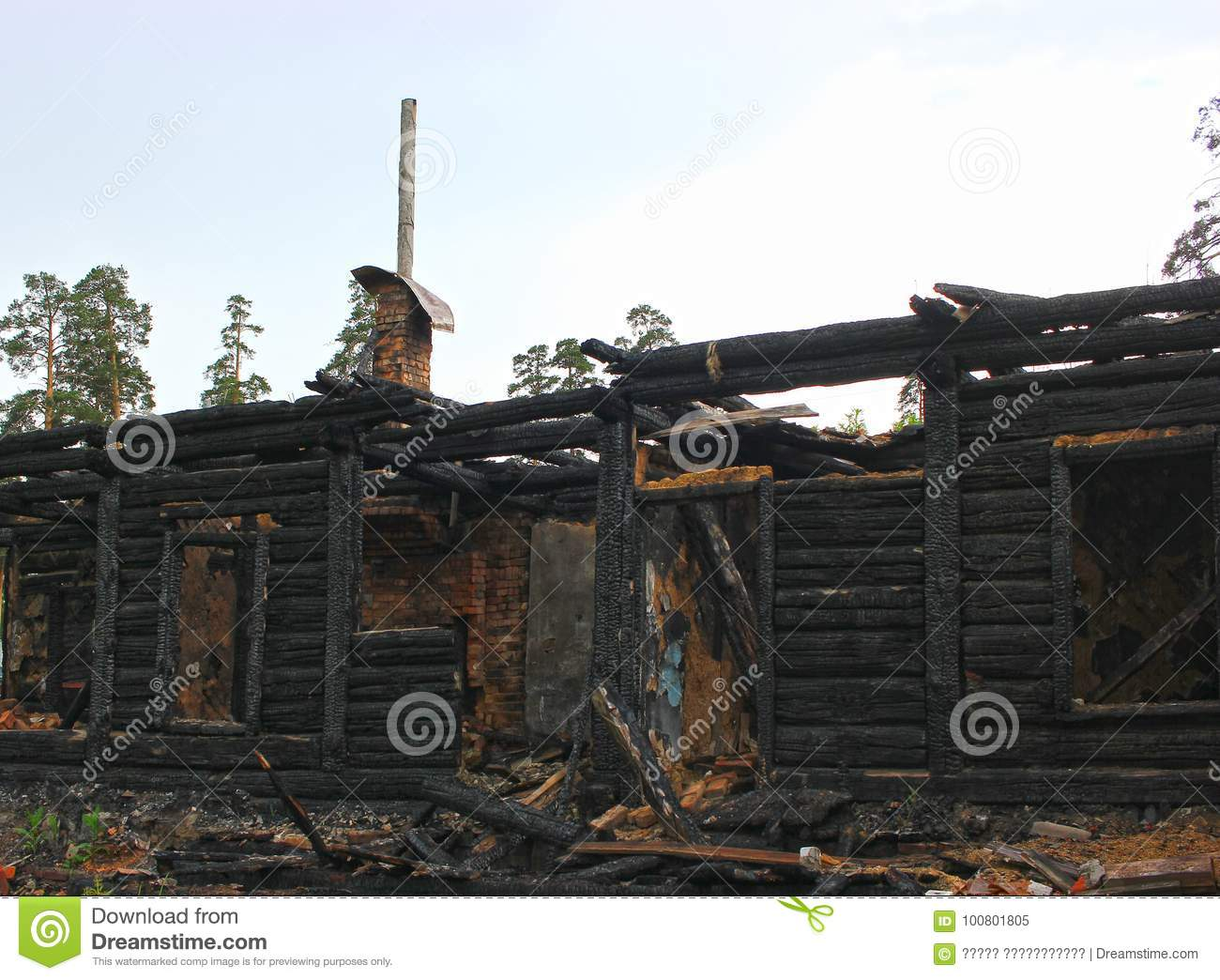 War Destroyed  Burned Down Wooden House  Charred Walls Stock Image