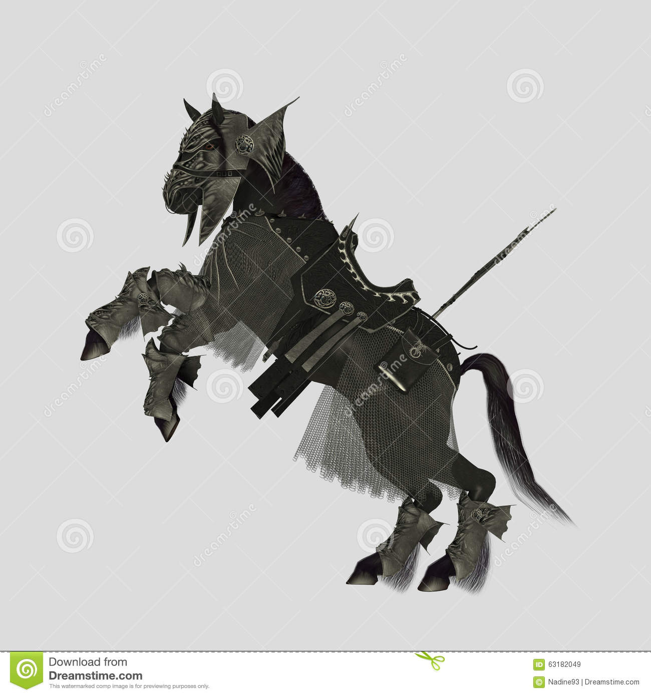War Horse With Armor Ad Flag Stock Illustration Illustration Of Leather Black 63182049